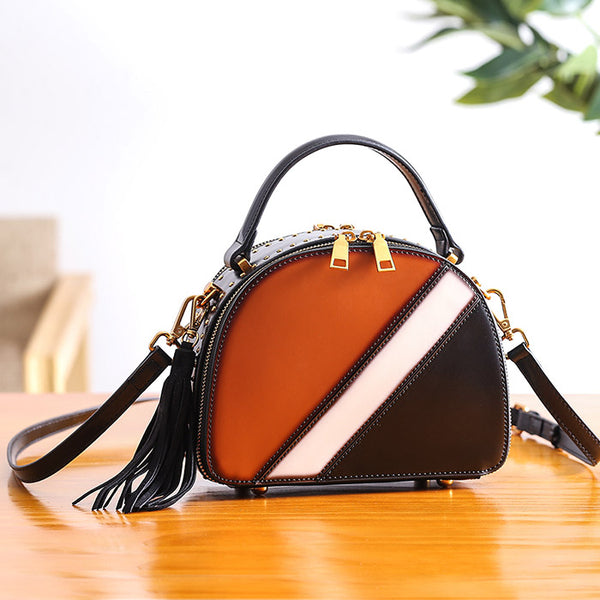 Half Round Red Leather Crossbody Bags Shoulder Bag Purses for Women Genuine Leather