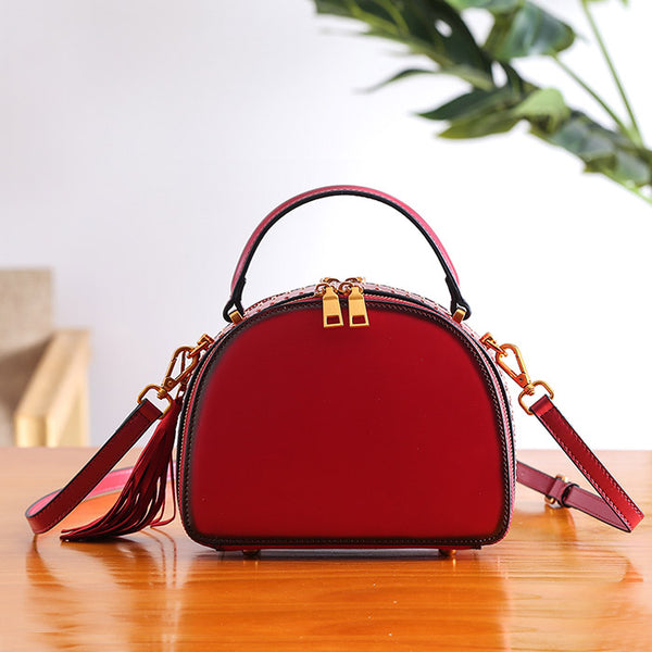 Half Round Red Leather Crossbody Bags Shoulder Bag Purses for Women Original