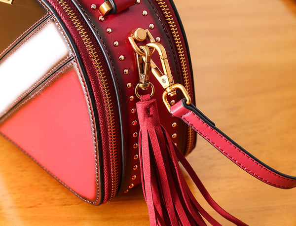 Half Round Red Leather Crossbody Bags Shoulder Bag Purses for Women Unique