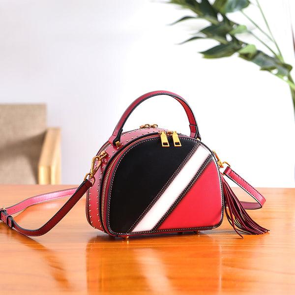 Half Round Red Leather Crossbody Bags Shoulder Bag Purses for Women beautiful