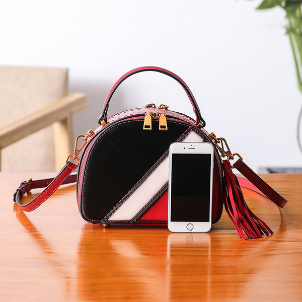 Half Round Red Leather Crossbody Bags Shoulder Bag Purses for Women fashion