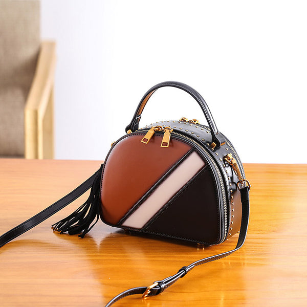 Half Round Red Leather Crossbody Bags Shoulder Bag Purses for Women gift