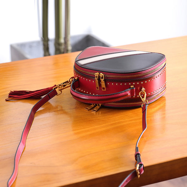 Half Round Red Leather Crossbody Bags Shoulder Bag Purses for Women small