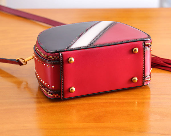 Half Round Red Leather Crossbody Bags Shoulder Bag Purses for Women work bag