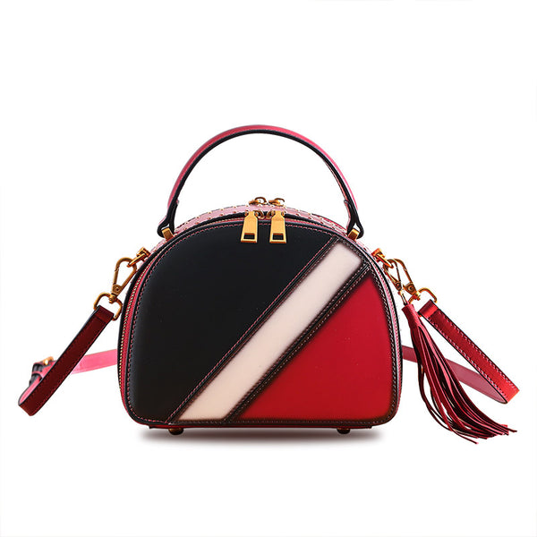 Half Round Red Leather Crossbody Bags Shoulder Bag Purses for Women
