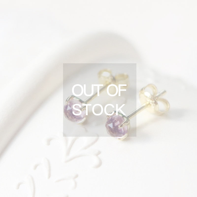 Handmade Natural Amethyst Stud Earrings in Gold Plated Silver Accessories Women