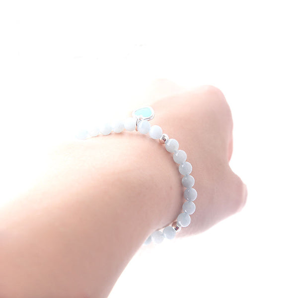 Handmade Aquamarine Beads Bracelets March Birthstone Womens Gemstone Jewelry Accessories