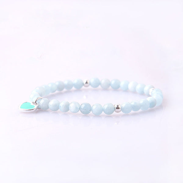 Handmade Aquamarine Beads Bracelets March Birthstone Womens Gemstone Jewelry Accessories elegant
