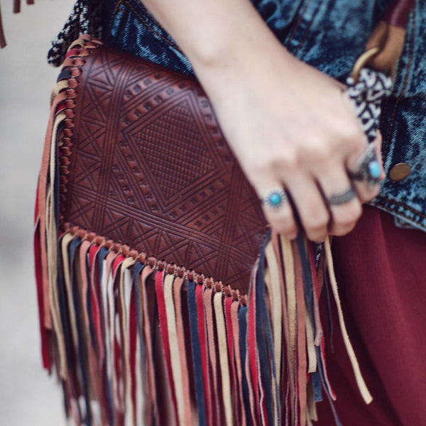 Handmade Boho Leather Fringe Crossbody Purse Western Purses With Fringe For Women Accessories