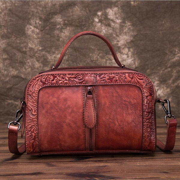 Handmade Embossed Leather Handbags Cross Shoulder Bag For Women Affordable