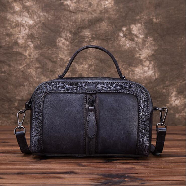 Handmade Embossed Leather Handbags Cross Shoulder Bag For Women Beautiful