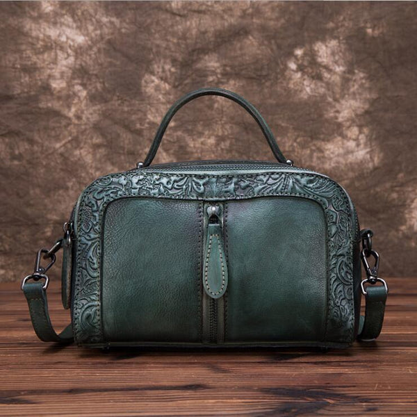 Handmade Embossed Leather Handbags Cross Shoulder Bag For Women Best