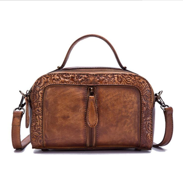 Handmade Embossed Leather Handbags Cross Shoulder Bag For Women Chic