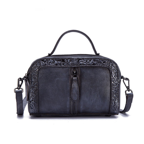 Handmade Embossed Leather Handbags Cross Shoulder Bag For Women Designer