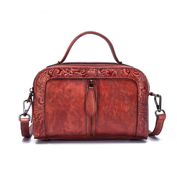 Handmade Embossed Leather Handbags Cross Shoulder Bag For Women Fashion