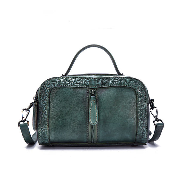 Handmade Embossed Leather Handbags Cross Shoulder Bag For Women Funky