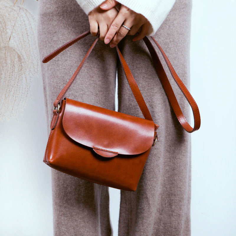 Handmade Flap Bag Women's Leather Crossbody Bags Purses For Women Designer