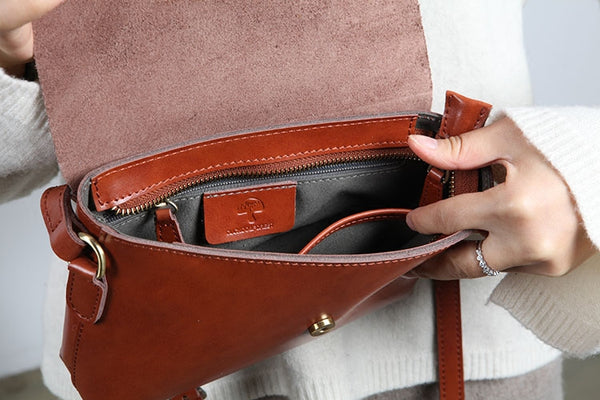 Handmade Flap Bag Women's Leather Crossbody Bags Purses For Women Details