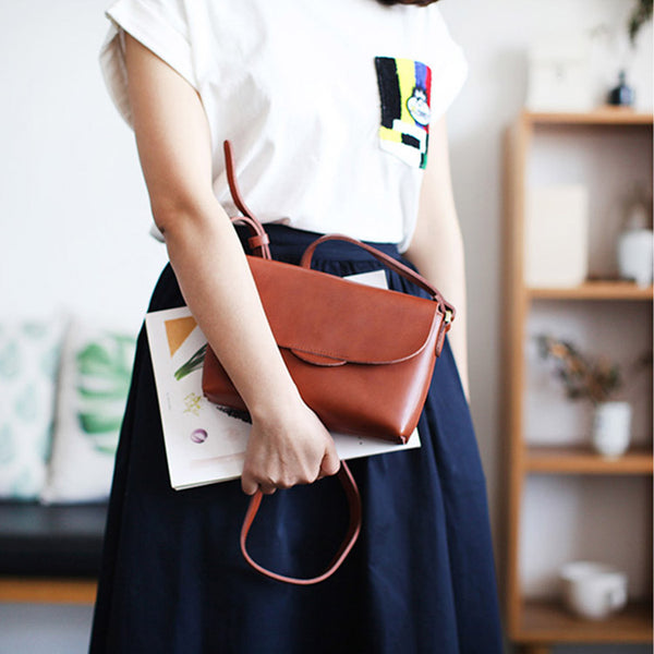 Handmade Flap Bag Women's Leather Crossbody Bags Purses For Women Genuine Leather