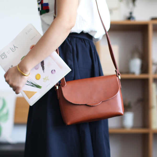 Handmade Flap Bag Women's Leather Crossbody Bags Purses For Women cute
