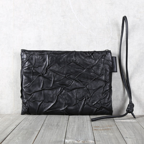 Handmade Genuine Leather Clutches Black Leather Handbags Purse for Women and Men cool