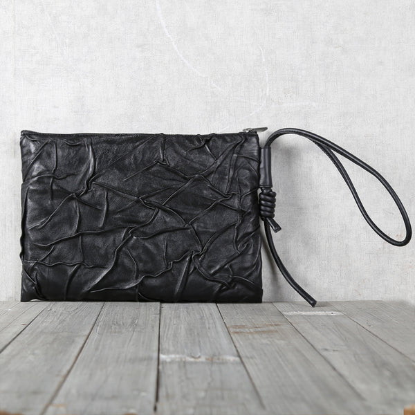 Handmade Genuine Leather Clutches Black Leather Handbags Purse for Women and Men gifts