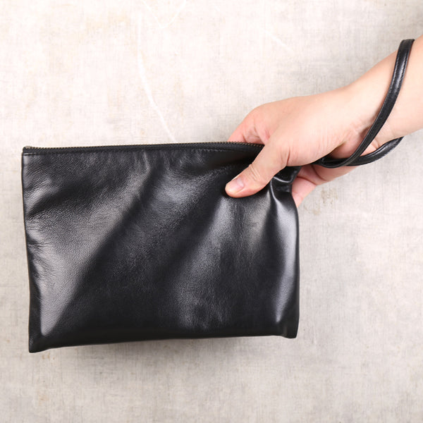 Handmade Genuine Leather Clutches Handbags Phone Case Women Men chic