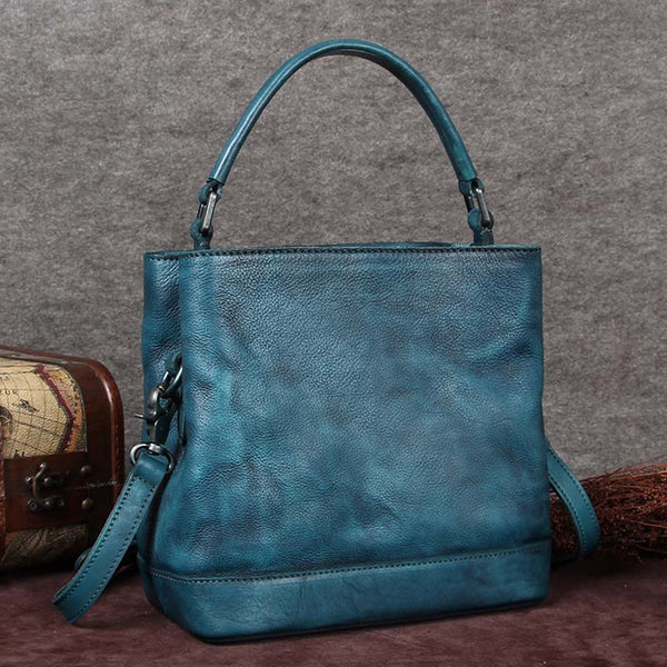 Handmade Genuine Leather Handbags Crossbody Shoulder Bags Purses Accessories Gift Women Blue