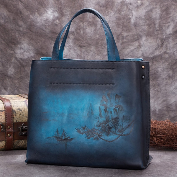 Handmade Genuine Leather Handbags Totes Bags Purses Accessories Gift Women Blue landscape painting