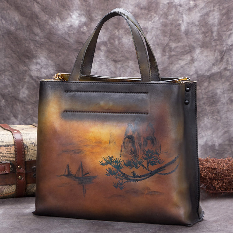 Handmade Genuine Leather Handbags Totes Bags Purses Accessories Gift Women Yellow Landscape Painting