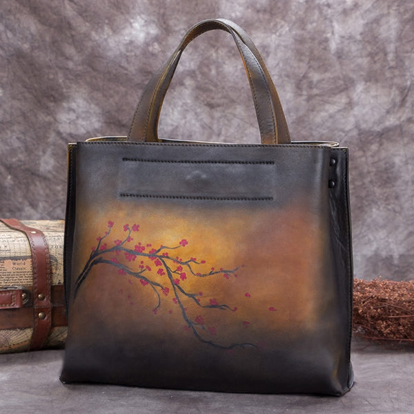 Handmade Genuine Leather Handbags Totes Bags Purses Accessories Gift Women Yellow Plum Blossom