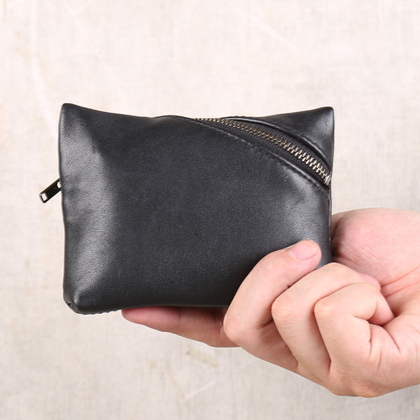 Handmade Genuine Leather Short Coin Card Wallets Clutches Purse Women Men black