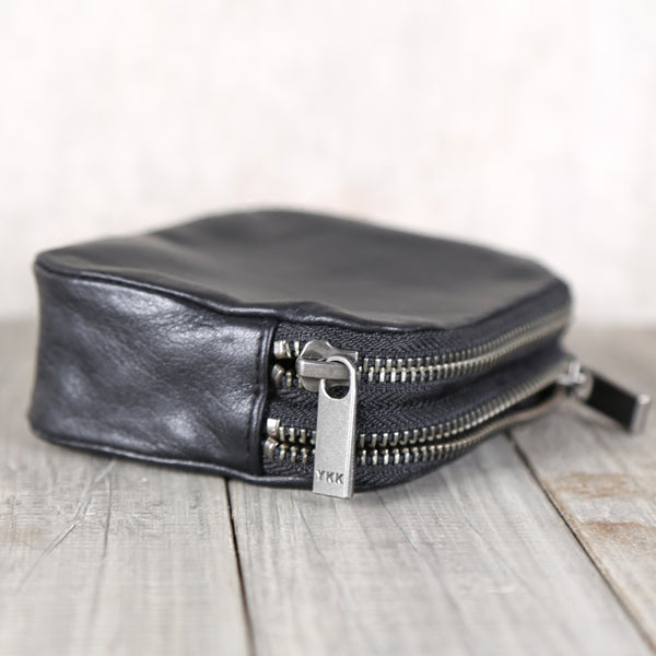 Ladies Black Leather Zip Wallet Small Coin Purse Card Wallet for Women