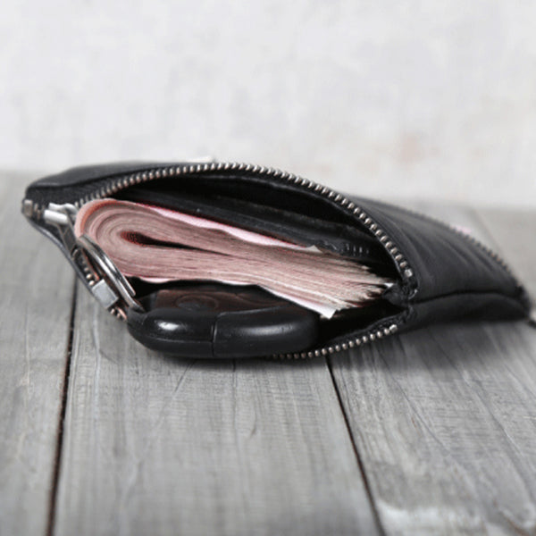 Handmade Genuine Leather Short Wallets Coin Purse Card Wallet Women Men Unique