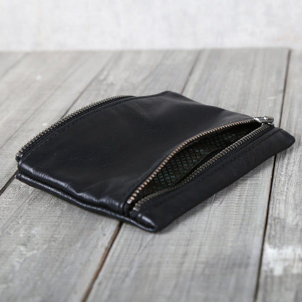Womens Black Leather Coin Purse Card Wallets Small Wallets for Women