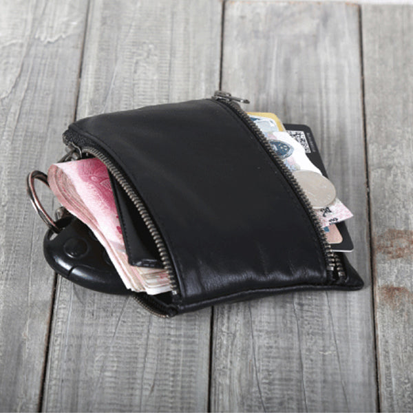 Handmade Genuine Leather Short Wallets Coin Purse Card Wallet Women Men gift