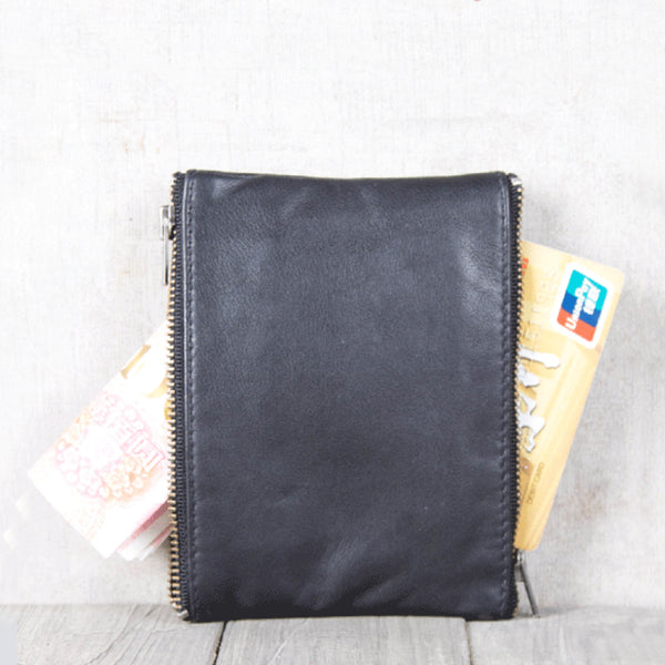 Handmade Genuine Leather Short Wallets Coin Purse Card Wallets Women Men Minimalism