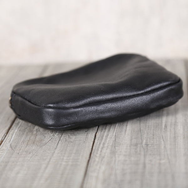 Womens Handmade Black Leather Wallet Coin Purse Card Wallet for Women