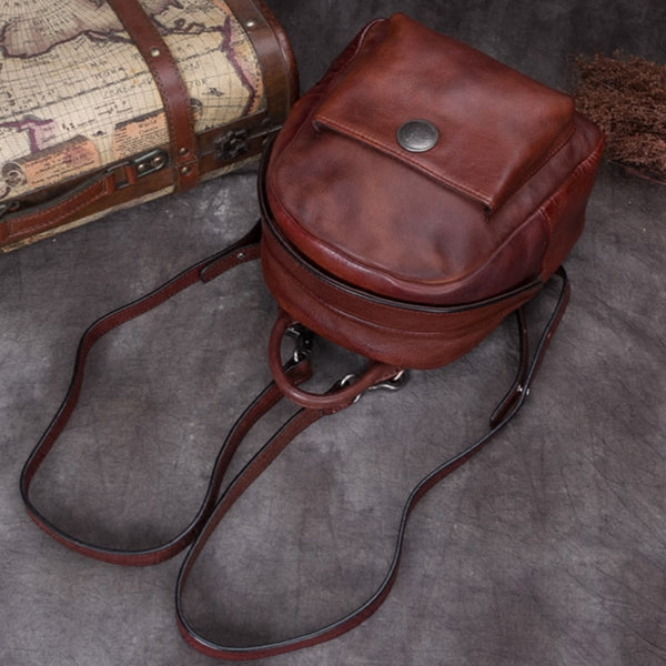 Handmade Cute Womens Brown Leather Backpack Small Backpacks for Women