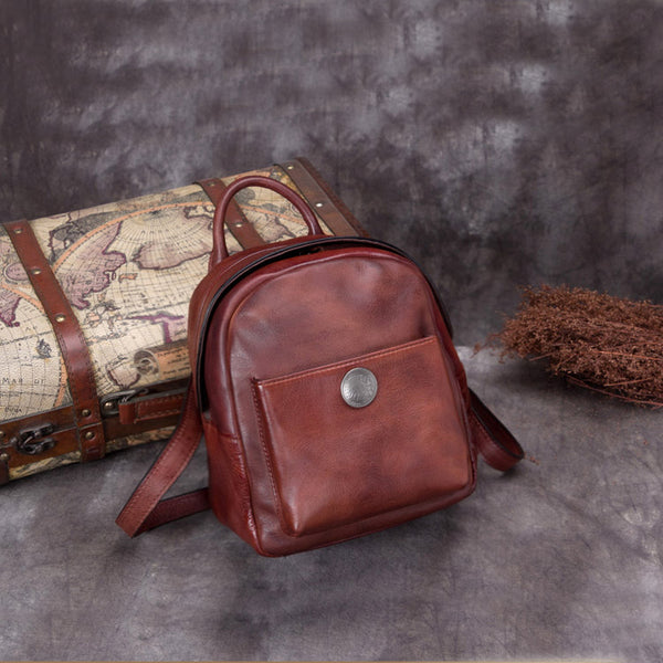 Handmade Genuine Leather Small Backpack Bags School Bags Purses Handbags Women unique