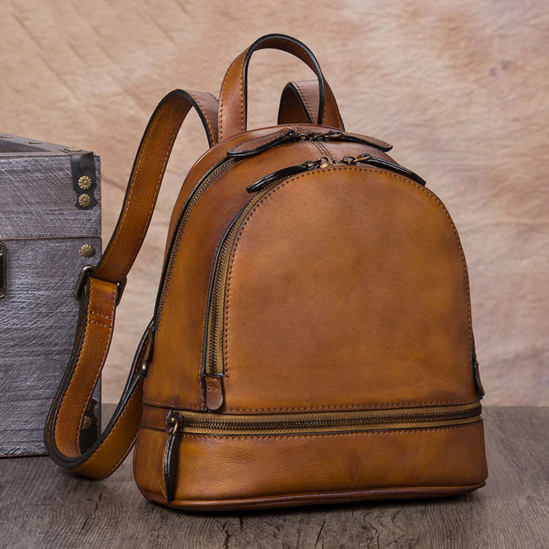 Handmade Genuine Leather Small Backpack Laptop Bags School Bags Purses  Women Brown a397e6b2f6