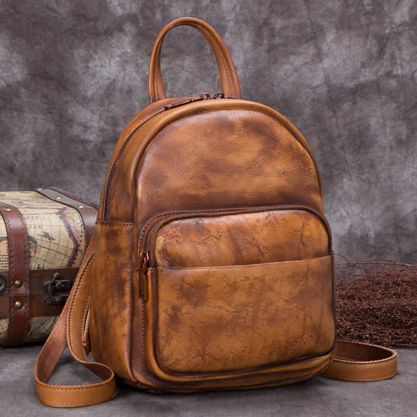 Handmade Genuine Leather Small Backpack Laptop Bags School Bags Purses Women Brown