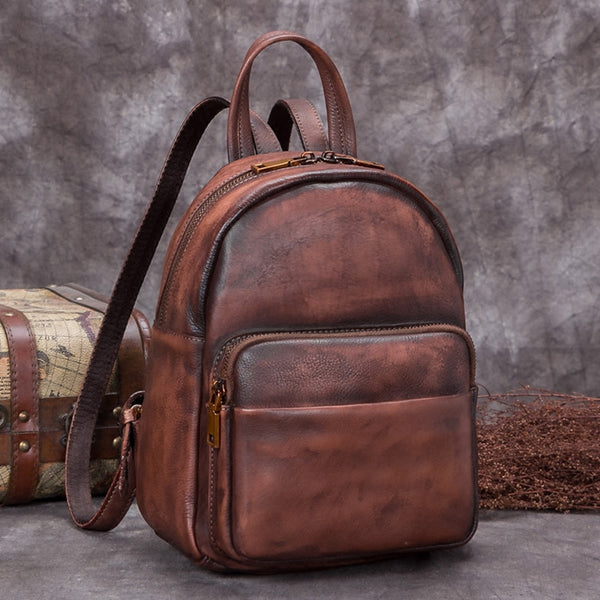 Handmade Genuine Leather Small Backpack Laptop Bags School Bags Purses Women Coffee