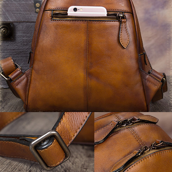Handmade Genuine Leather Small Backpack Laptop Bags School Bags Purses Women Details