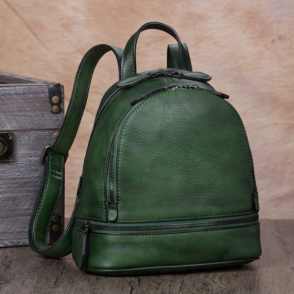 Handmade Genuine Leather Small Backpack Laptop Bags School Bags Purses Women Green
