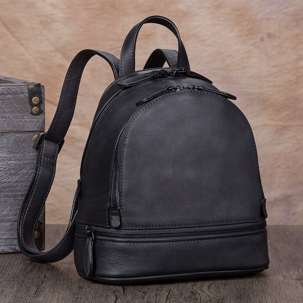 Handmade Genuine Leather Small Backpack Laptop Bags School Bags Purses Women Grey
