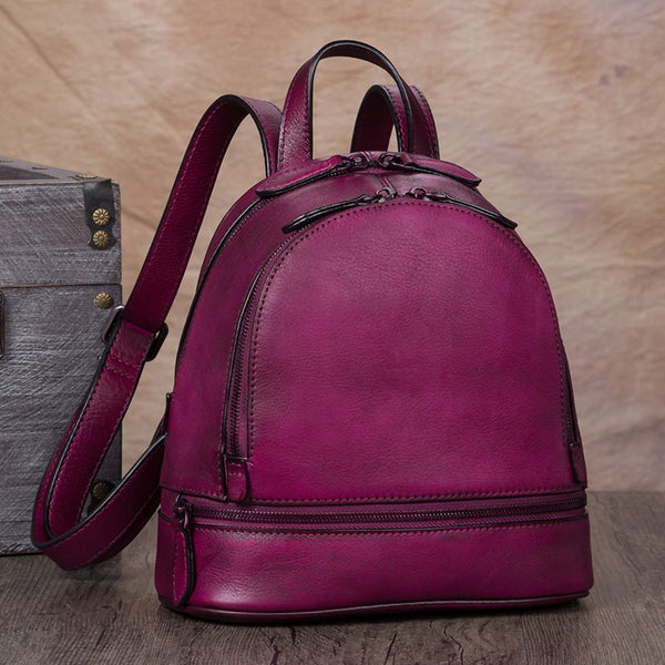 Handmade Genuine Leather Small Backpack Laptop Bags School Bags Purses Women Purple