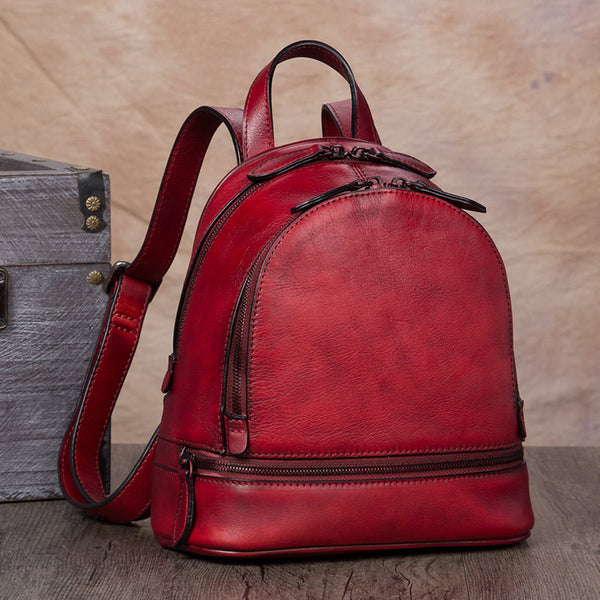 Handmade Genuine Leather Small Backpack Laptop Bags School Bags Purses Women Red