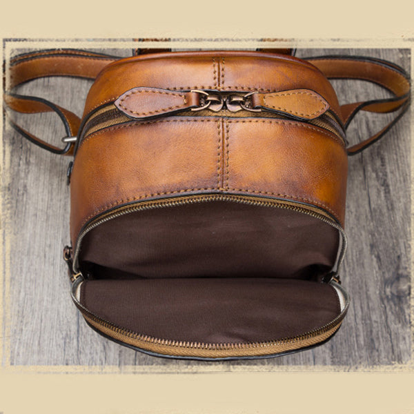 Handmade Genuine Leather Small Backpack Laptop Bags School Bags Purses Women Vintage-1