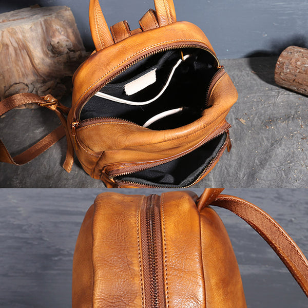 Ladies Genuine Leather Small Backpack Purse Cool Backpacks for Women